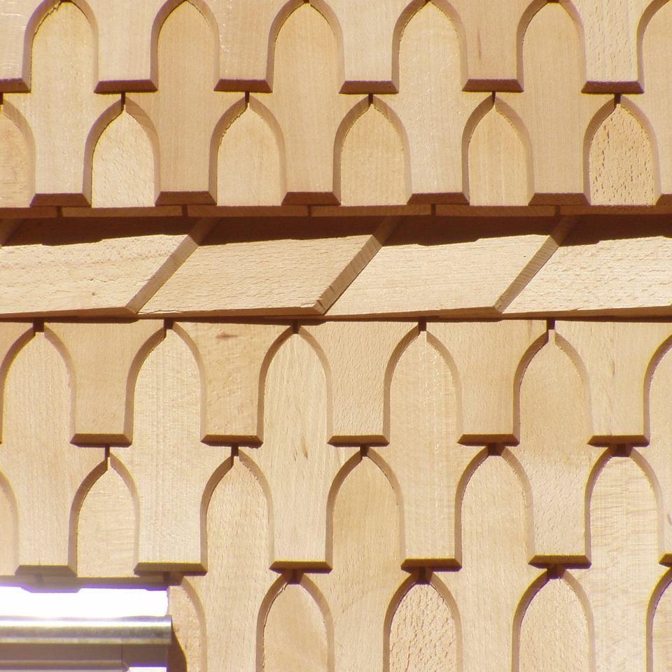 Schwalbenschwanz Holzschindel Detailansicht